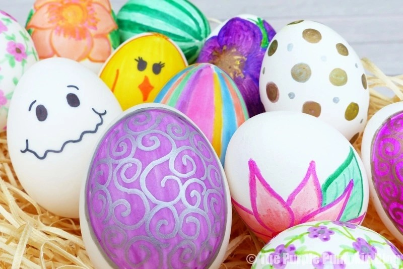 Real Eggs Decorated with Sharpie Pens