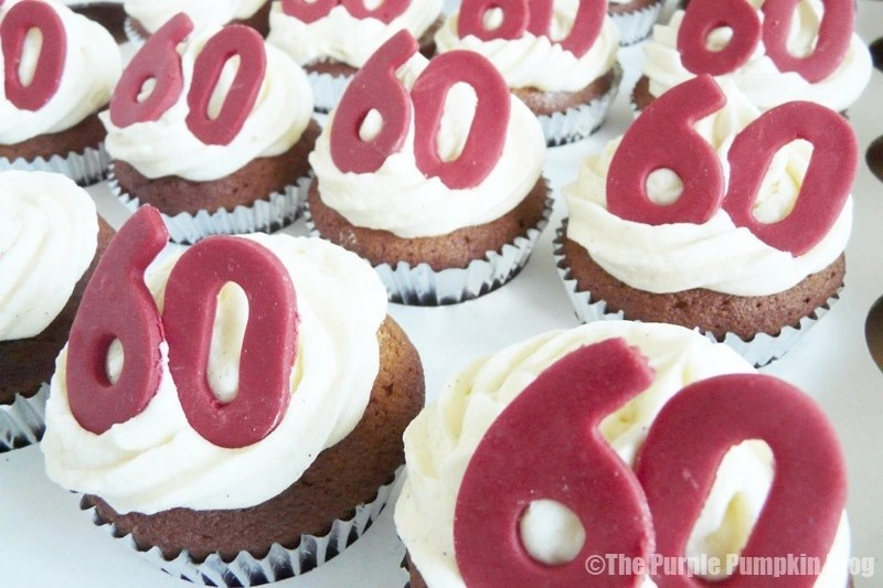 Red and White 60th Birthday Cupcakes