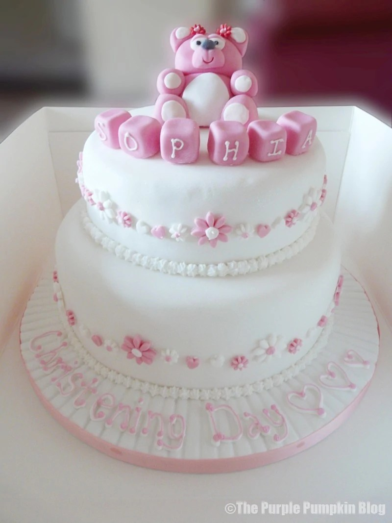 Teddy Bear Two Tier Christening Cake