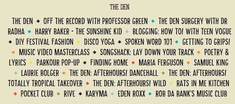 Camp Bestival The Den 2015