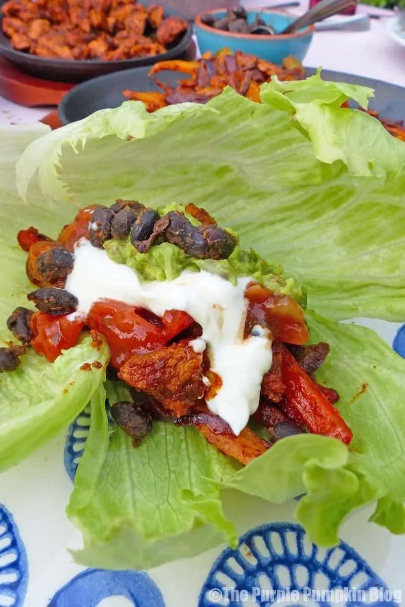 Chicken Fajitas Wrapped In Lettuce Leaves