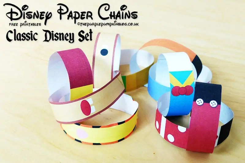 Disney Paper Chains - Free Printable - Classic Disney Set
