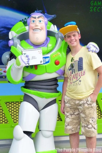 Liam meeting Buzz Lightyear at Magic Kingdom