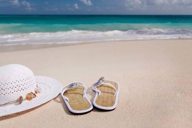 Hat + Flip Flops on the Beach