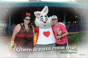 Meeting the White Rabbit at Magic Kingdom