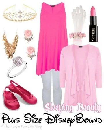 Sleeping Beauty - Plus Size DisneyBound. This look is suitable to wear around the Disney parks - flat shoes and layers for air-conditioned restaurants!