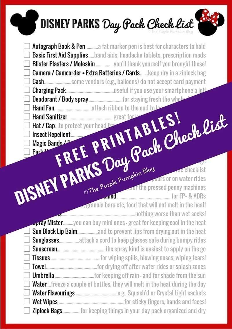 Disney Parks Day Pack Checklist - Free Printables! This is perfect for making sure we have everything we need for a day at a Disney park!