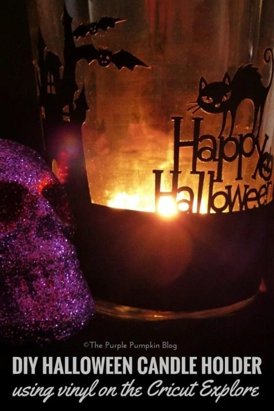 DIY Halloween Candle Holder using vinyl on the Cricut Explore