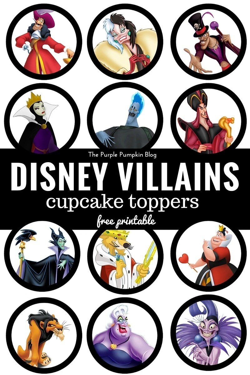 Disney Villains Cupcake Toppers - Free Printables. Plus loads more Disney printables on this blog!