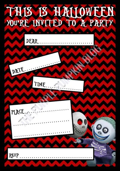 Halloween Party Invitations - Free Printable - The Nightmare Before Christmas - Barrel