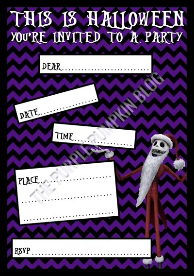 Halloween Party Invitations - Free Printable - The Nightmare Before Christmas - Jack Skellington Santa