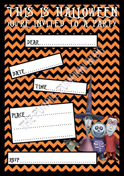 Halloween Party Invitations - Free Printable - The Nightmare Before Christmas - Lock Shock and Barrel