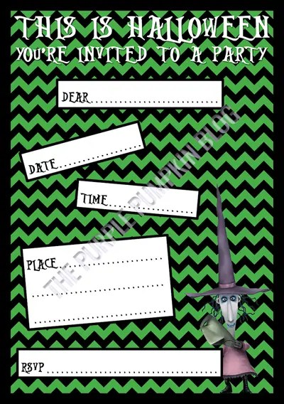 Halloween Party Invitations - Free Printable - The Nightmare Before Christmas - Shock