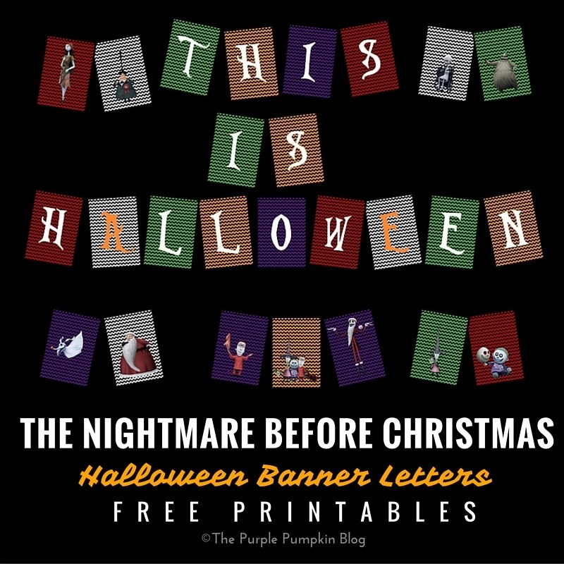 The Nightmare Before Christmas - Halloween Banner Letters - Free Printables. Plus lots more matching printables in the Halloween Party Set!