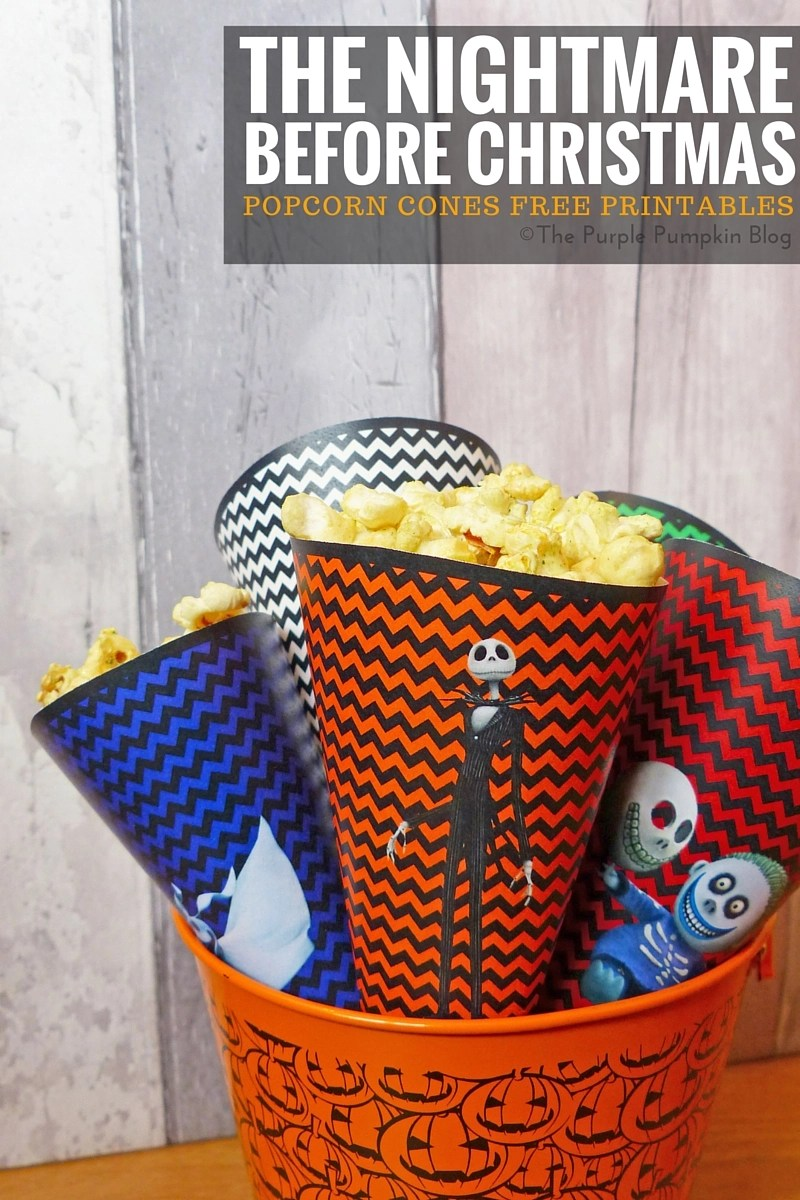 Popcorn Cones - The Nightmare Before Christmas. Free printables, plus matching Halloween party items on this blog!