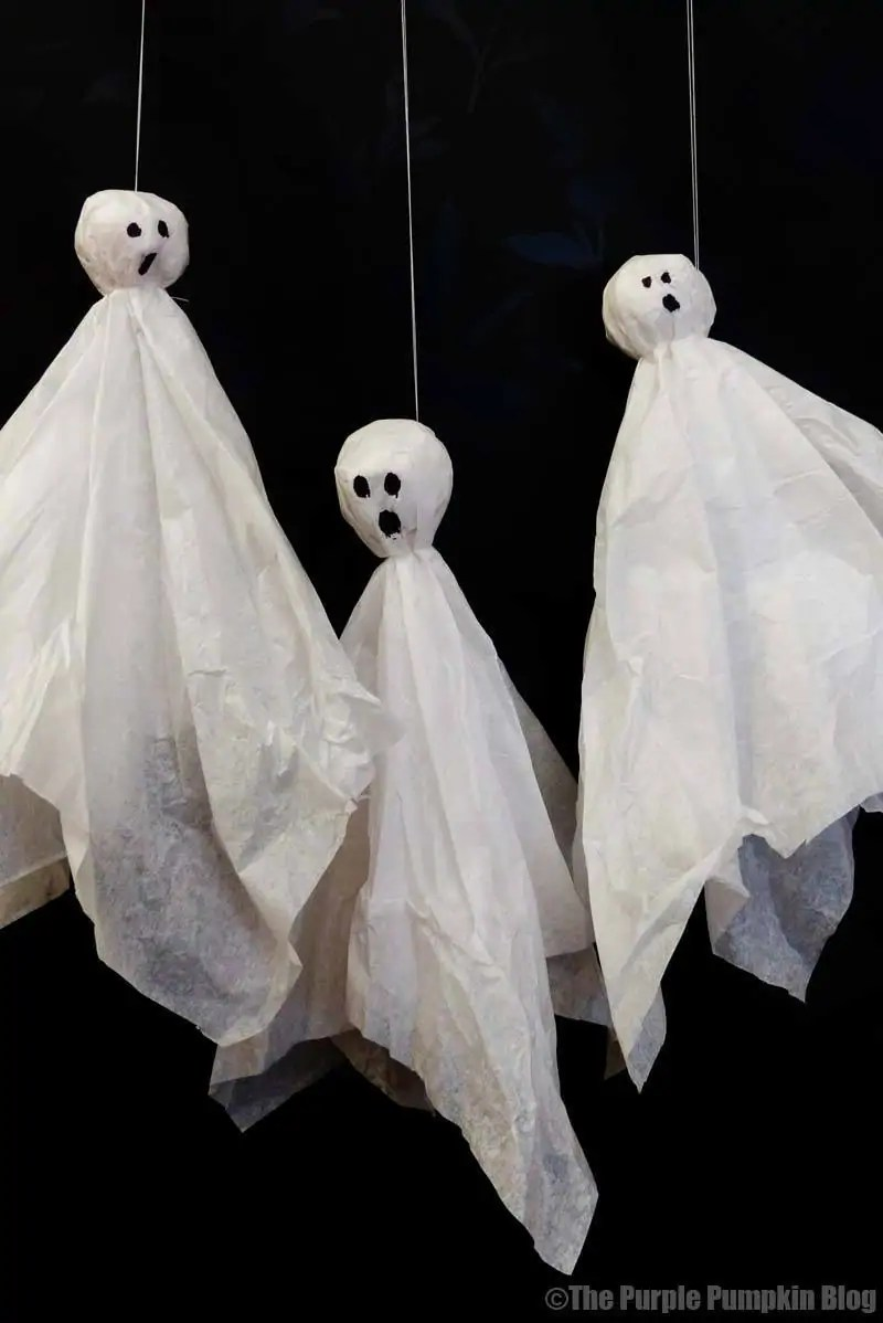 Tissue Paper Ghosts for Halloween