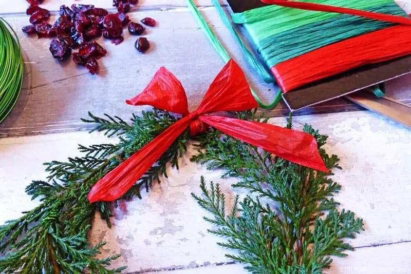 Fern & Dried Cranberry Wreath - Step 3