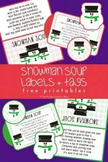Snowman Soup Labels Tags - Free Printables! This set has labels, tags, and a snowman soup poem. Makes a fun Christmas gift!
