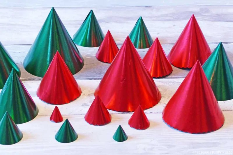 Wrapping Paper Christmas Tree Cones - Step 4