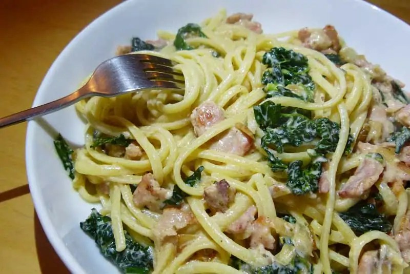 Creamy Linguine with Bacon and Cavolo Nero