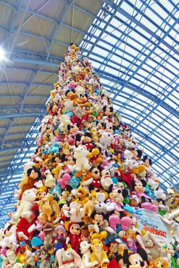 Disney Plush Christmas Tree at St. Pancras Station