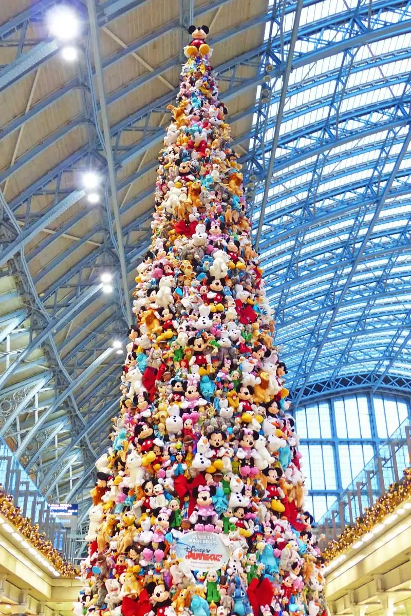 Disney Plush Christmas Tree at St. Pancras Station