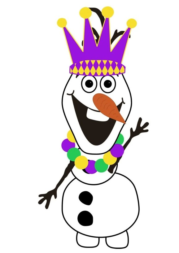 Do You Want To Build A Snowman - Free Olaf Printable - Mardi Gras Edition - Crown + Beads