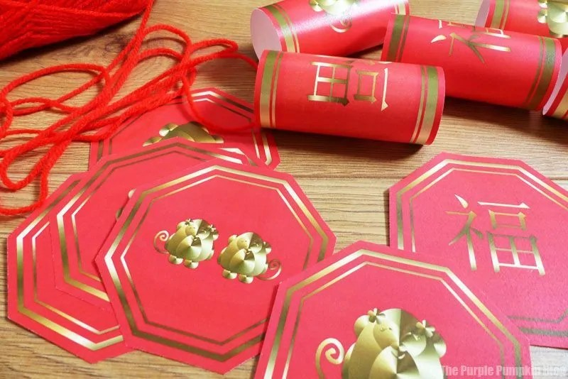 Paper Pieces to make lunar new year firecrackers