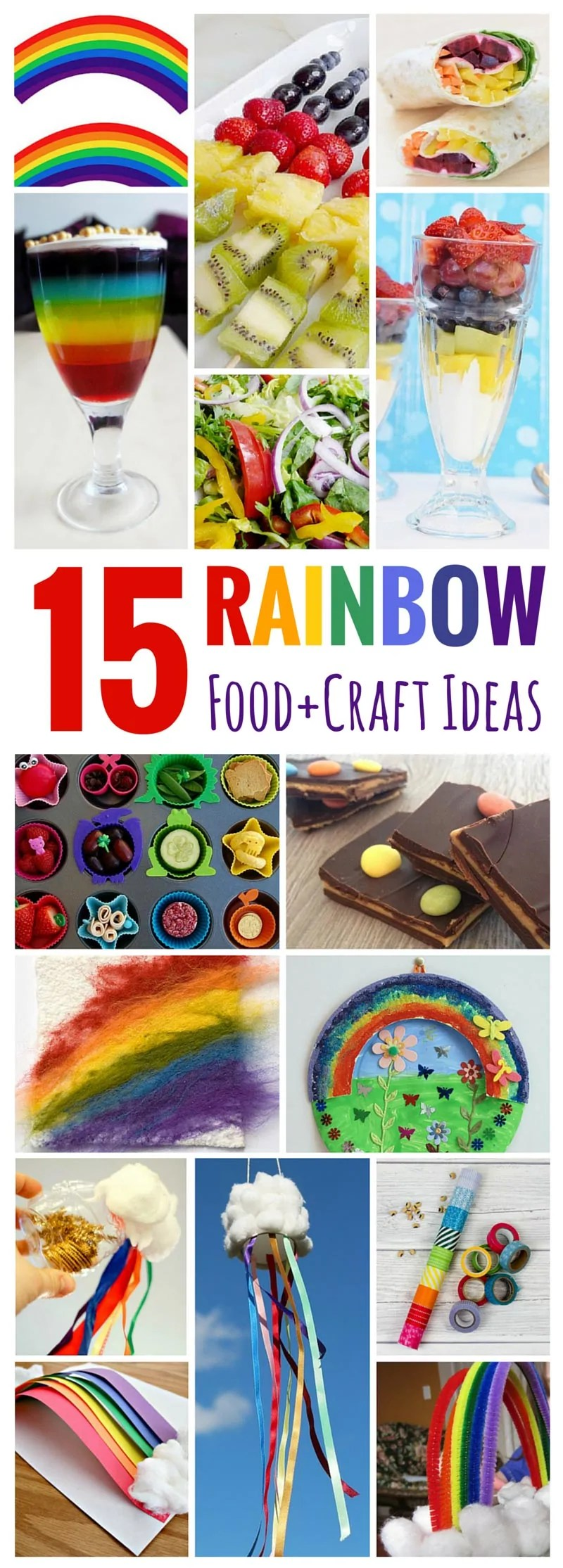 15 Rainbow Food + Craft Ideas - these are great for any time of the year, and for St. Patrick's Day!