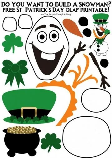 Do You Want To Build A Snowman St. Patrick's Day Olaf Edition! These printables are awesome, and there are lots of other seasonal Olaf printables to download!