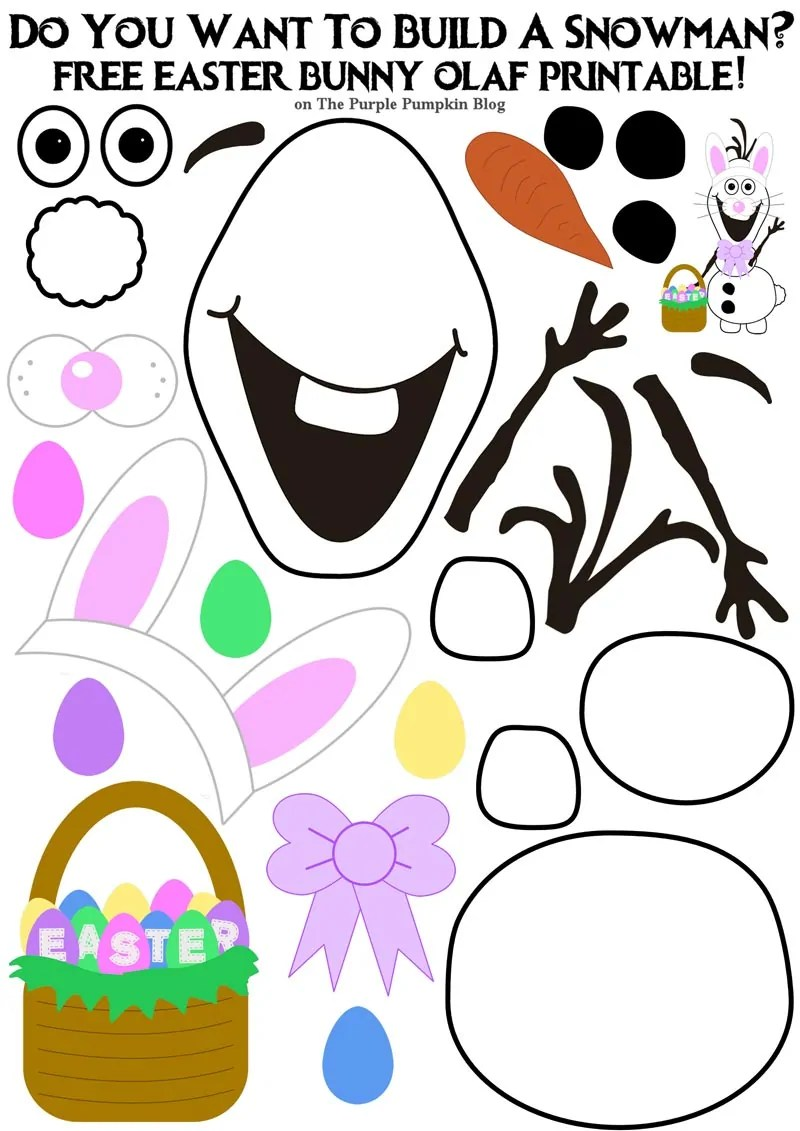 picture about Bunny Printable titled Do On your own Have to have Toward Produce A Snowman? Easter Bunny Olaf Model