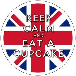 Keep Calm and Eat A Cupcake - Union Jack Cupcake Toppers