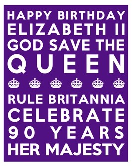 Queen's 90th Birthday Free Printable Subway Art Poster - Purple