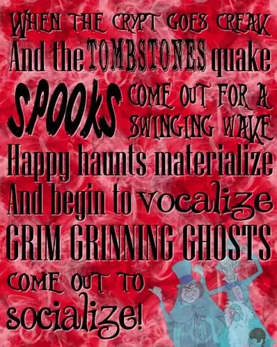 Grim Grinning Ghosts - The Haunted Mansion Poster - Free Printable (Red)