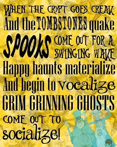 Grim Grinning Ghosts - The Haunted Mansion Poster - Free Printable (Yellow)