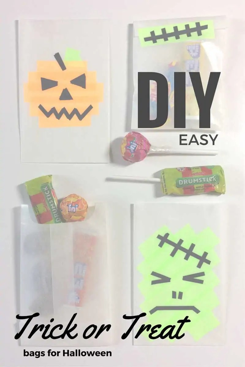 Halloween DIY Trick or Treat-Bags. These easy DIY trick or treat bags are super cute and quick to make. Making these can be a fun Halloween craft for kids, so they can help you make them if you're doing enough for the whole class.
