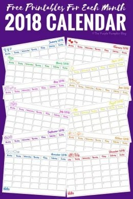 FREE CALENDAR PRINTABLES! Download and print these monthly calendar pages to keep track of appointments, errands and important dates etc., This printable is updated annually for the new year ahead!