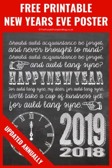 Free Printable New Years Eve Poster - a simple decoration for your New Years festivities, just download, print and place in a frame. This free printable new years poster is updated annually!