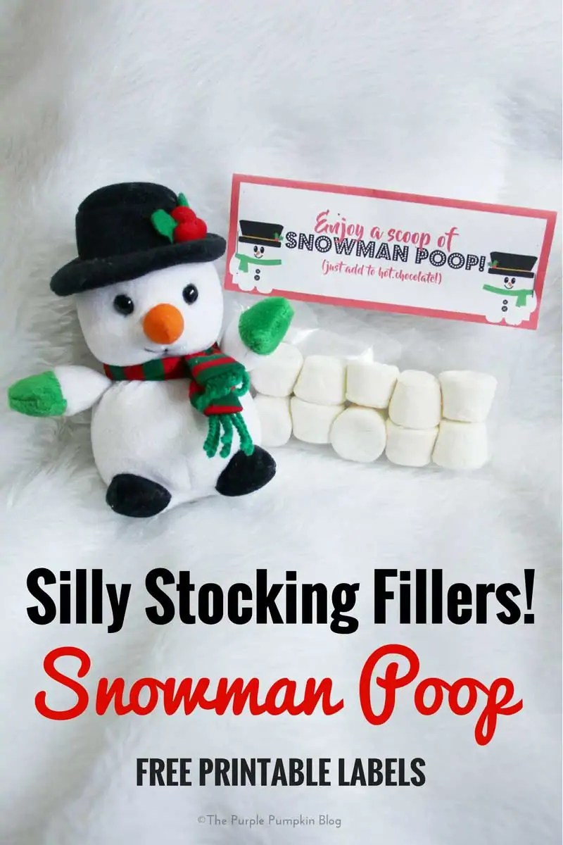 Snowman Poop Free Printable Labels. These make fab silly stocking fillers! Add marshmallows to a clear food bag and top off with this label.