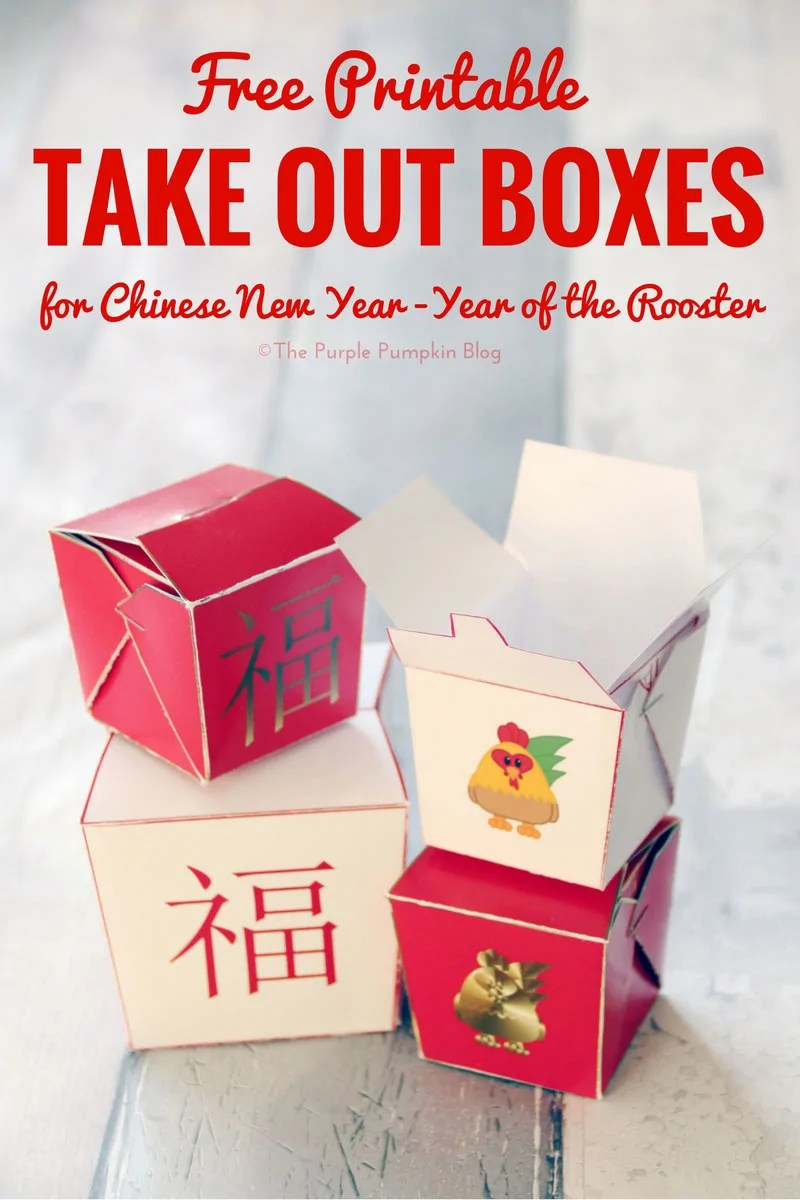 Free Printable Chinese Take Out Boxes - these are great for filling with candy for a cute party favor
