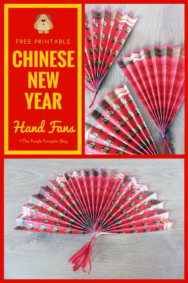 year of the dog free printable paper hand fans. Black Bedroom Furniture Sets. Home Design Ideas