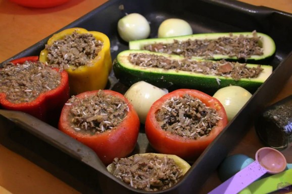 Greek-Cypriot Stuffed Vegetables - vegetables stuffed with mince and rice
