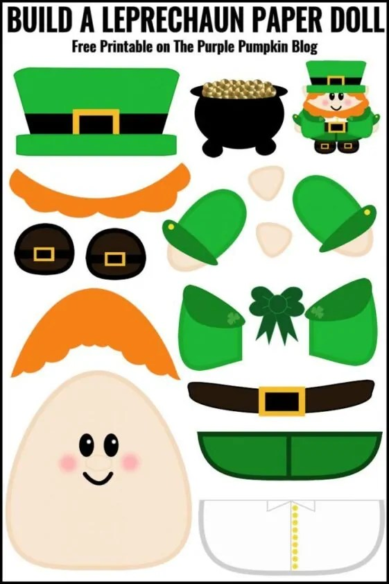 Build a Leprechaun Paper Doll - Free Printable! A fun activity for kids on St. Patrick's Day - print off the Leprechaun pieces, cut out and use glue to assemble him! Great for practising cutting skills.