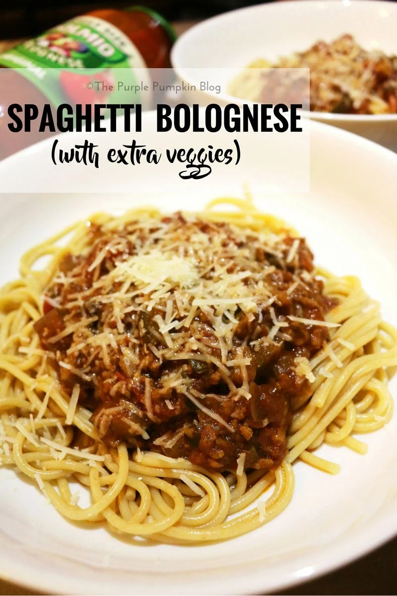 Spaghetti Bolognese with Extra Veggies, add extra vegetables to your bolgonese sauce to make the meat go a bit further! A filling and thrifty mid-week dinner!