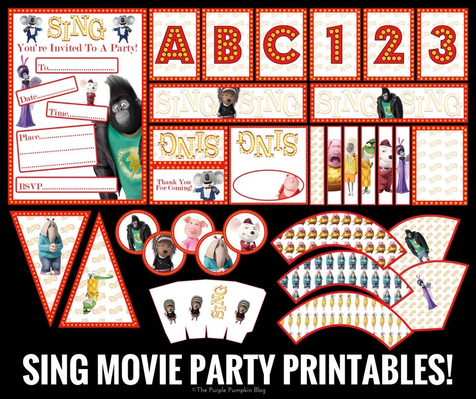 SING Move Party Printables (Facebook)
