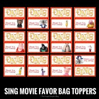 SING Movie Favor Bag Toppers