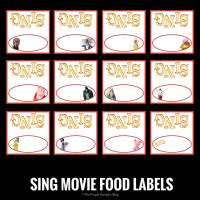 SING Movie Food Labels
