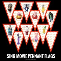 SING Movie Pennant Flags