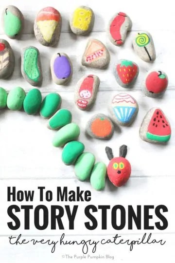 How To Make Story Stones! This is a fun way to tell and make up stories with children. Paint objects and characters onto stones and use them to tell a favourite story - like the beloved Very Hungry Caterpillar! Or a classic fairy tale like The Three Little Pigs. Story Stones can help [you and] your child be creative and learn the art of story telling. Using paint pens like Posca Pens makes things a lot easier (and less messy!) than regular paint. Use varnish to prolong their life. Once you start painting them, you won't want to stop! Have fun!