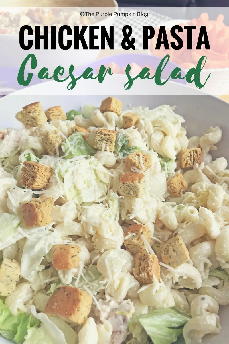 Chicken & Pasta Caesar Salad. Use ready cooked chicken, and your favourite brand of Caesar dressing to make this delicious, quick, and easy salad!